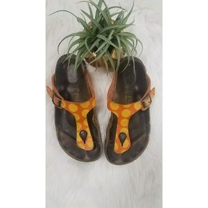Papillio by Birkenstock orange floral sandals